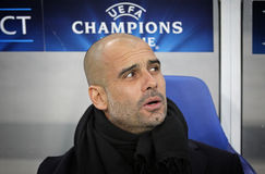 FC Bayern Munich manager Josep Guardiola. LVIV, UKRAINE - FEBRUARY 17, 2015: FC Bayern Munich manager Josep Guardiola looks on during UEFA Champions League game stock photography