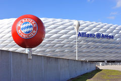 The FC Bayern Munich symbol and the path to Allianz Arena stadi Stock Image