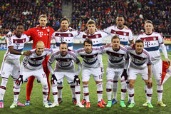 FC Bayern Munich team. LVIV, UKRAINE - FEBRUARY 17, 2015: FC Bayern Munich players pose for a group photo before UEFA Champions League game against FC Shakhtar royalty free stock images