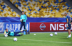 FC Chelsea training session at NSC Olimpiyskyi stadium Royalty Free Stock Photos