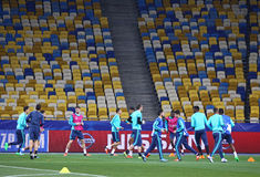 FC Chelsea training session at NSC Olimpiyskyi stadium Stock Image