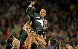FC de bus Guardiola van Barcelona Royalty-vrije Stock Foto's