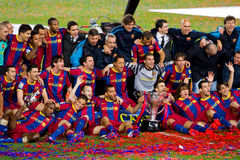 FC de spelers die van Barcelona de Liga vieren Royalty-vrije Stock Foto's