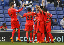 FC de spelers die van Barcelona doel vieren Royalty-vrije Stock Afbeeldingen