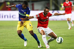 FC Dinamo Bucharest-FC Petrolul Ploiesti. Alexandru Curtean (R) fighting for the ball with Soni Mustivar (L), during the League 1 football match between FC stock photos