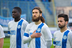 FC Dnipro对Metalurg乌克兰语英格兰足球超级联赛2014/2015 库存照片