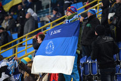FC Dnipro fan with flag Royalty Free Stock Image