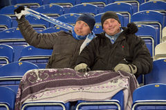 FC Dnipro fans in winter Stock Photos