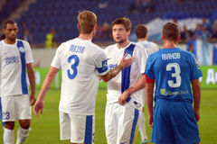 FC Dnipro football players congratulate each other Royalty Free Stock Image