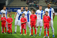 FC Dnipro football players before the match Stock Photos
