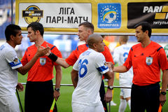FC Dnipro players are greating referees Royalty Free Stock Photo