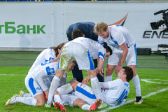 FC Dnipro players on the pitch Royalty Free Stock Image