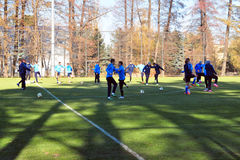 FC Dnipro team players trained on the field Stock Images