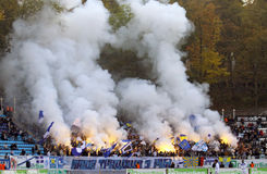 FC Dynamo Kiev team ultra supporters burn flares Royalty Free Stock Photography