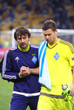 FC Dynamo Kyiv goalkeepers Olexandr Shovkovskiy and Olexandr Ryb Royalty Free Stock Photos