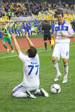 FC Dynamo Kyiv players celebrate a goal Stock Image