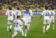 FC Dynamo Kyiv players celebrate a goal Stock Photography