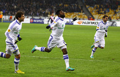 FC Dynamo Kyiv players celebrate after scored a goal Stock Photo