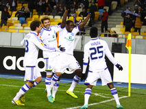 FC Dynamo Kyiv players celebrate after scored a goal Stock Image