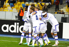 FC Dynamo Kyiv players celebrate after scored a goal Royalty Free Stock Image