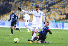 FC Dynamo Kyiv ucraino della partita di football americano della Premier League contro FC Chor Immagini Stock