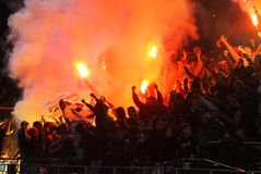 FC Dynamo Kyiv ultra supporters burn flares Stock Image