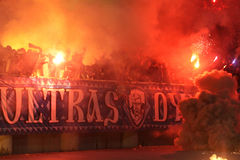 FC Dynamo Kyiv ultra supporters burn flares Stock Photos