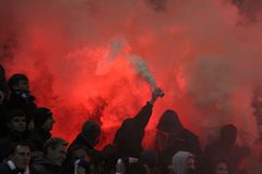 FC Dynamo Kyiv ultra supporters burn flares Stock Photography