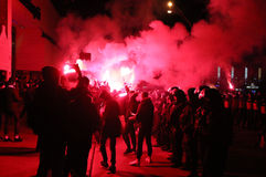 FC Dynamo Kyiv ultras support their team on the road to stadium Stock Photography