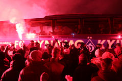 FC Dynamo Kyiv ultras support their team on the road to stadium Royalty Free Stock Photography