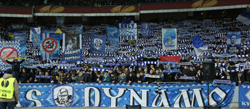 FC Dynamo Kyiv ultras, UEFA Europa League Round of 16 second leg match between Dynamo and Everton Stock Photo