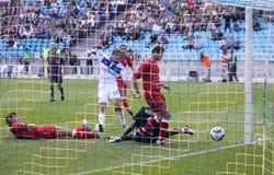 FC dynamo Kyiv versus Volyn Lutsk Royalty-vrije Stock Foto