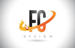 FC F C Letter Logo with Fire Flames Design and Orange Swoosh. FC F C Letter Logo Design with Fire Flames and Orange Swoosh Vector Illustration Stock Photography