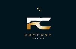 fc f c  white yellow gold golden luxury alphabet letter logo ico Stock Photos
