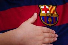 FC het embleem van Barcelona op Jersey Royalty-vrije Stock Afbeelding