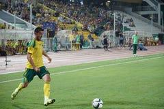 FC Kuban defender Stanislav Manolev runs to goal Royalty Free Stock Images