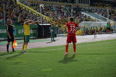 FC Kuban midfielder Vladislav Ignatiev enters the ball into play from the sideline Royalty Free Stock Photo