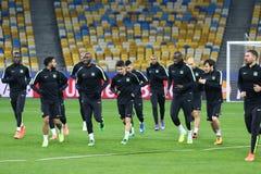 FC Manchester City training session at NSC Olimpiyskyi stadium Royalty Free Stock Photography