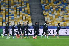 FC Manchester City training session at NSC Olimpiyskyi stadium Royalty Free Stock Photo
