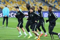 FC Manchester City training session at NSC Olimpiyskyi stadium i Stock Photography