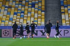 FC Manchester City training session at NSC Olimpiyskyi stadium i Royalty Free Stock Images