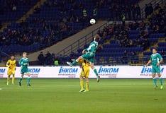 FC Metalist与FC Obolon Kyiv足球比赛 库存图片