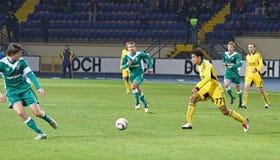 FC Metalist与FC Obolon Kyiv足球比赛 免版税库存图片