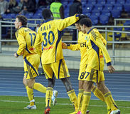FC Metalist εναντίον του αγώνα ποδοσφαίρου FC Obolon Kyiv Στοκ εικόνα με δικαίωμα ελεύθερης χρήσης