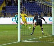 FC Metalist contre le match de football de FC Obolon Kyiv Photos libres de droits