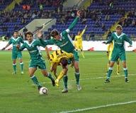 FC Metalist gegen FC Obolon Kyiv Fußbalabgleichung Stockfotografie