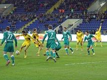 FC Metalist gegen FC Obolon Kyiv Fußbalabgleichung Lizenzfreie Stockfotografie