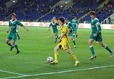 FC Metalist gegen FC Obolon Kyiv Fußbalabgleichung Stockfoto