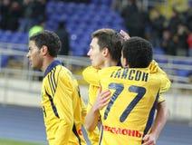 FC Metalist gegen FC Obolon Kyiv Fußbalabgleichung Lizenzfreie Stockfotos