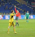 FC Metalist gegen FC Obolon Kyiv Fußbalabgleichung Stockfotos